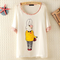 Bunny Girl Loose T-shirt With Flora Neck And Sleeves