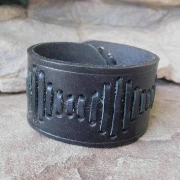 Lace Design Wrist Cuff Black Leather Handmade Up Cycled | wildcatleatherco - Leather Craft on ArtFire