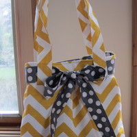 Pleated Handbag Purse Ipad Netbook Tote Yellow and White Chevron
