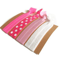 Elastic Hair Ties Pink Polka Dots Yoga Hair Bands