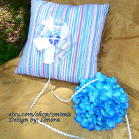 "Ring Bearer Pillow - ""Hannah"" Casual Summer Wedding -Seersucker Fabric -Beach Ring Bearer Pillow"