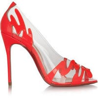 Christian Louboutin | Illusions 100 patent-leather and PVC pumps  | NET-A-PORTER.COM