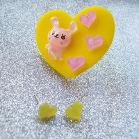 Bunny Love - Sweet Pastel Hearts Ring and Earrings Set from On Secret Wings