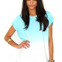Missguided - Kiara Ombre Tee In Blue