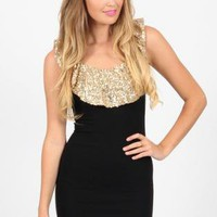 Black Minidress with Gold Sequin Ruffle