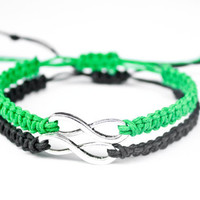 Infinity Friendship or Couples Bracelets Green and Black Hemp