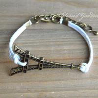 bracelet, eiffel tower bracelet,eiffel tower, infinity bracelet, god's gift, antique bronze, blessed gift, gift to bestfriend