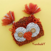 Baby Owl Hats Fuzzy Orange Owls Newborn Photo Props Baby Girl Clothes
