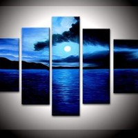 100% Hand-painted Free Shipping Wood Framed on the Back Artwork Dark Blue Ocean White Sun High Q. Wall Decor Landscape Oil Painting on Canvas 5pcs/set Mixorde:Amazon:Home & Kitchen