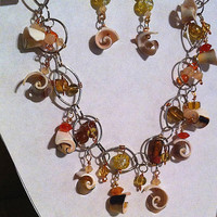 orange and yellow shell spirals beaded necklace for summer or beach wedding
