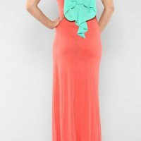 Coral Maxidress with Mint Bowback