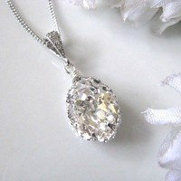 Swarovski Crystal Drop Bridal Necklace, Bridal Jewelry | Luulla