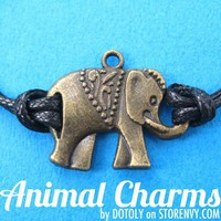 Cute Elephant Charm Bracelet in Bronze on Black