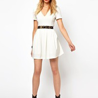 Lavish Alice Structured Skater Dress at asos.com