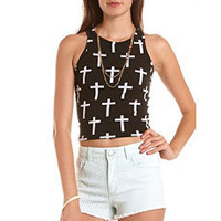 Cross Print Crop Top: Charlotte Russe