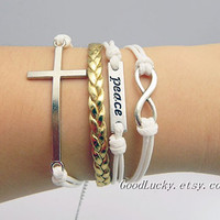 Leather Bracelet,Cross Bracelet,Infinity Bracelet,Peace Bracelet-white wax rope and golden leather braided bracelet