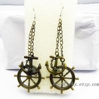 Anchor Earrings,Rudder Earrings,Chain Earrings,Dangle Earrings,lovely Earrings,The ancient  Bronze Earrings