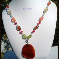 Amber agate slice pendant green, orange, red yellow beaded necklace