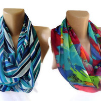 2 eternity infinity loop scarf , women fashion accessories spring summer trendy two scarves Trending