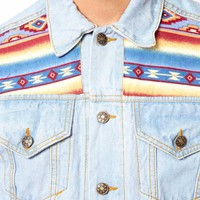 Reclaimed Vintage Denim Jacket with Aztec Panels