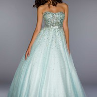 Ball Gowns by Mac Duggal 61184H Aqua Ball Gown