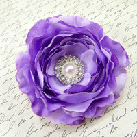 Lavender Flower Hair Clip, Flower Hairpiece, Bridesmaids Hair Accessories, Bridal Headpiece, Purple Wedding Fascinator by Flower Couture