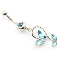 316L Surgical Steel 14g 7/16 Inch Blue Crystal Butterfly Dangle Cute Navel Ring Belly Bar Button Barbell Stud Body Jewelry Piercing Kit:Amazon:Jewelry