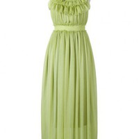 High Waist Summer Maxi Dress in Green