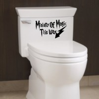 Ministry of Magic Decal Bathroom Quote Humor Toilet Funny Vinyl Sticker (Free glowindark switchplate decal):Amazon:Everything Else
