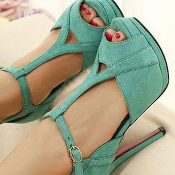 Ladies Fashion HighHeel Peeptoe Cut Out Party Shoes In TURQU from NaomiShu