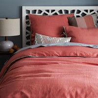 Linen Cotton Blend Duvet Cover + Shams - Lotus Pink