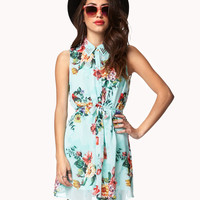Sleeveless Floral Shirt Dress | FOREVER21 - 2047504164