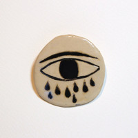Eye-Cloud - Ceramic brooch