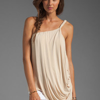 T-Bags LosAngeles One Shoulder Drape Tank in Cream from REVOLVEclothing.com
