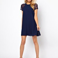Love Swing Dress with Lace Insert at asos.com