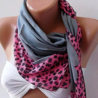 Fashion Shawl - Cotton Scarf - Headband - Necklace - Leopard - Grey and Pink