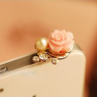 Flower Pearl and Rhinestone Phone Plug | LilyFair Jewelry