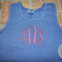 Monogram Comfort Colors Tank - Flo Blue