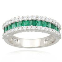 14k White Gold Classic Emerald Diamond Ring (1/3 cttw, I-J Color, SI2 Clarity), Size 8