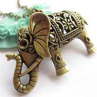 necklaceantique bronze 3D hollowout elephantalloy by laceinspring