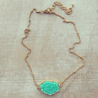 Pree Brulee - Mint Rock Druzy Necklace