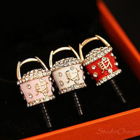 "1PC Bling Crystal  Chinese ""Cai"" Money Saving Barrel Earphone Antidust Plug Charm for iPhone 5 & 4, Samsung S3, Nokia"
