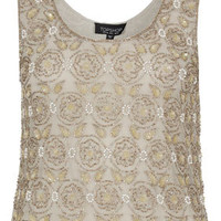 Embellished Flower Vest Top - Going Out  - Clothing