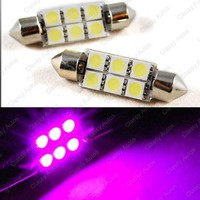 Classy Autos Super Intensity PINK LED Dome / License Plate Light Bulb (A Pair) - 41mm-Length x 15mm-Diameter 211-2 212-2 214-2 560 569 578