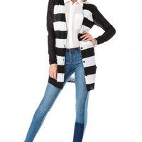 Lightweight Striped Cardigan in Black - ShopSosie.com