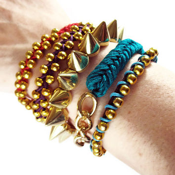 Spikes bracelet, GOLD and SILVER small studs spikes bracelet