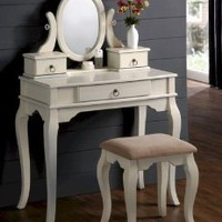 2PC Bedroom Makeup Vanity Table Set With Vanity Stool, Mirror And Storage Drawers In Antique White Finish. (Item# Vista Furniture PD4064)