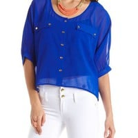 Gold Button Double Pocket Blouse: Charlotte Russe