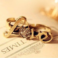 Retro diamond love LOVE letters double ring [kz161] - $1.99 : Supply super low prices fashion jewelry and costume jewelry--Favor21.com