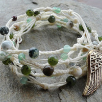 Multi Wrap Bracelet Guardian Angel Wing by MidnightsMojo on Etsy